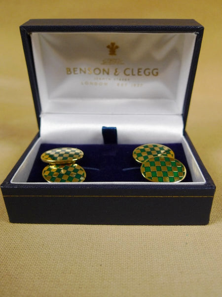 18/1140 brand new benson and clegg classic enamel chain cufflinks rrp £90 (702c)