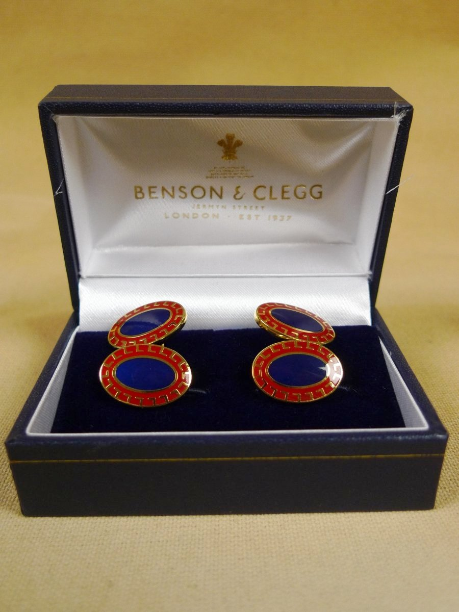 18/1143 brand new benson and clegg classic enamel chain cufflinks rrp £90 (705c)