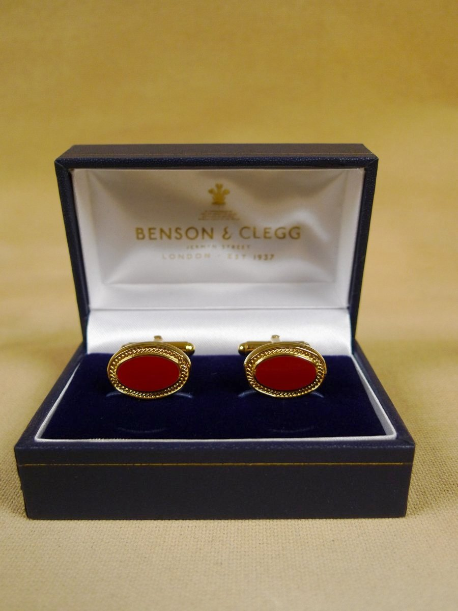 18/1147 brand new benson and clegg classic enamel t-bar cufflinks rrp £70 (738t)