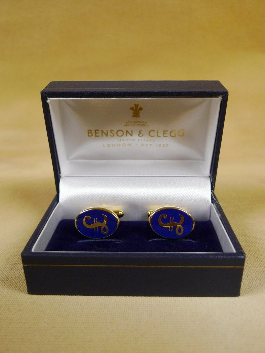 18/1148 brand new benson and clegg 'pound' classic enamel t-bar cufflinks rrp £70 (741t)