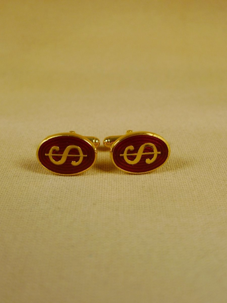 18/1149 brand new benson and clegg 'dollar' classic enamel t-bar cufflinks rrp £70 (742t)