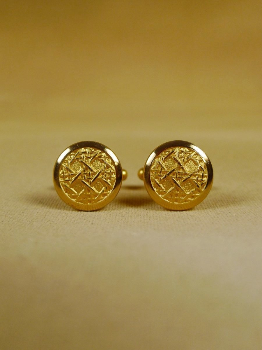 18/1207 brand new benson and clegg 'caneweave' button cufflinks rrp £40 (t919)