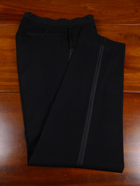 18/1156 1940s vintage high-rise black barathea wool evening trouser 32