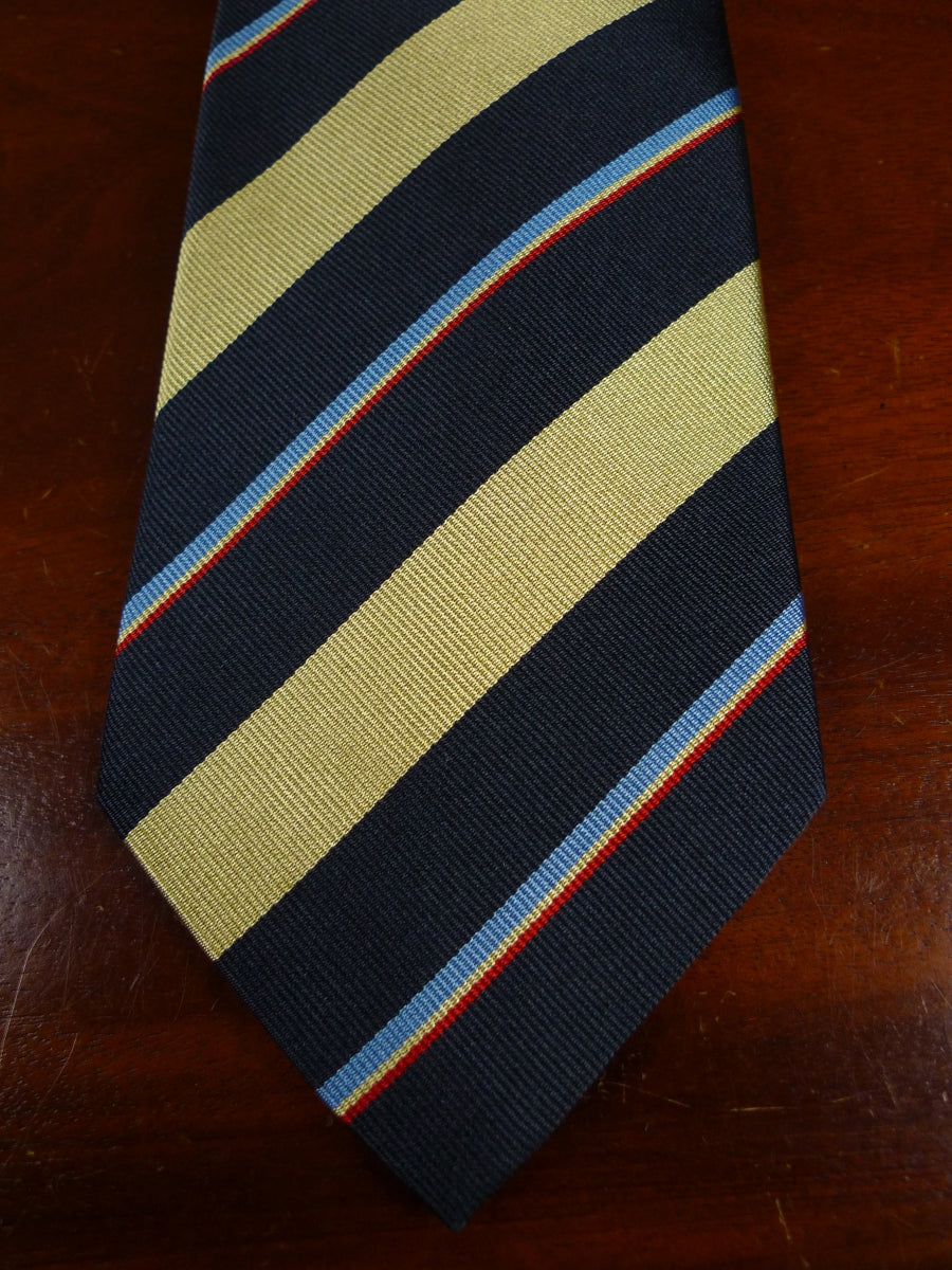 18/1202 brand new benson & clegg navy gold red silk repp tie rrp £65 (011r)