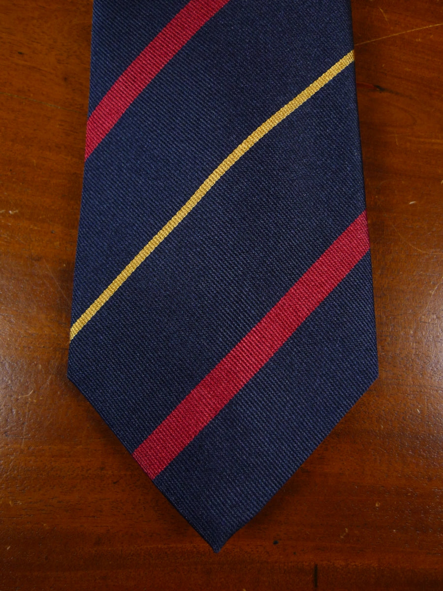 18/1205 brand new benson & clegg navy red gold silk repp tie rrp £65 (392r)