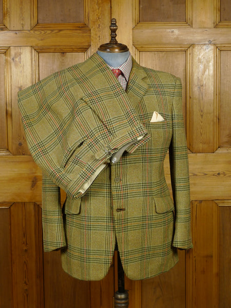 18/1227 wonderful vintage heavyweight green bold check tweed shooting (breeks) suit 42 regular