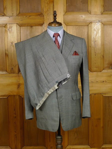 18/1235 vintage 1977 welsh & jefferies savile row bespoke grey / blue prince of wales check 3-piece suit 40 regular