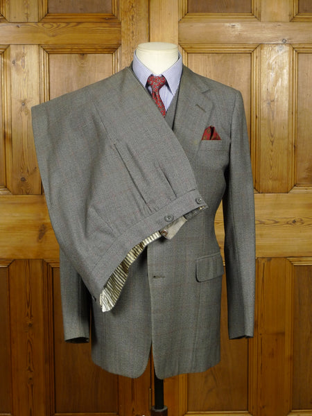 18/1279 vintage 1978 welsh & jefferies savile row bespoke grey / red windowpane check 3-piece worsted suit 38-39 regular