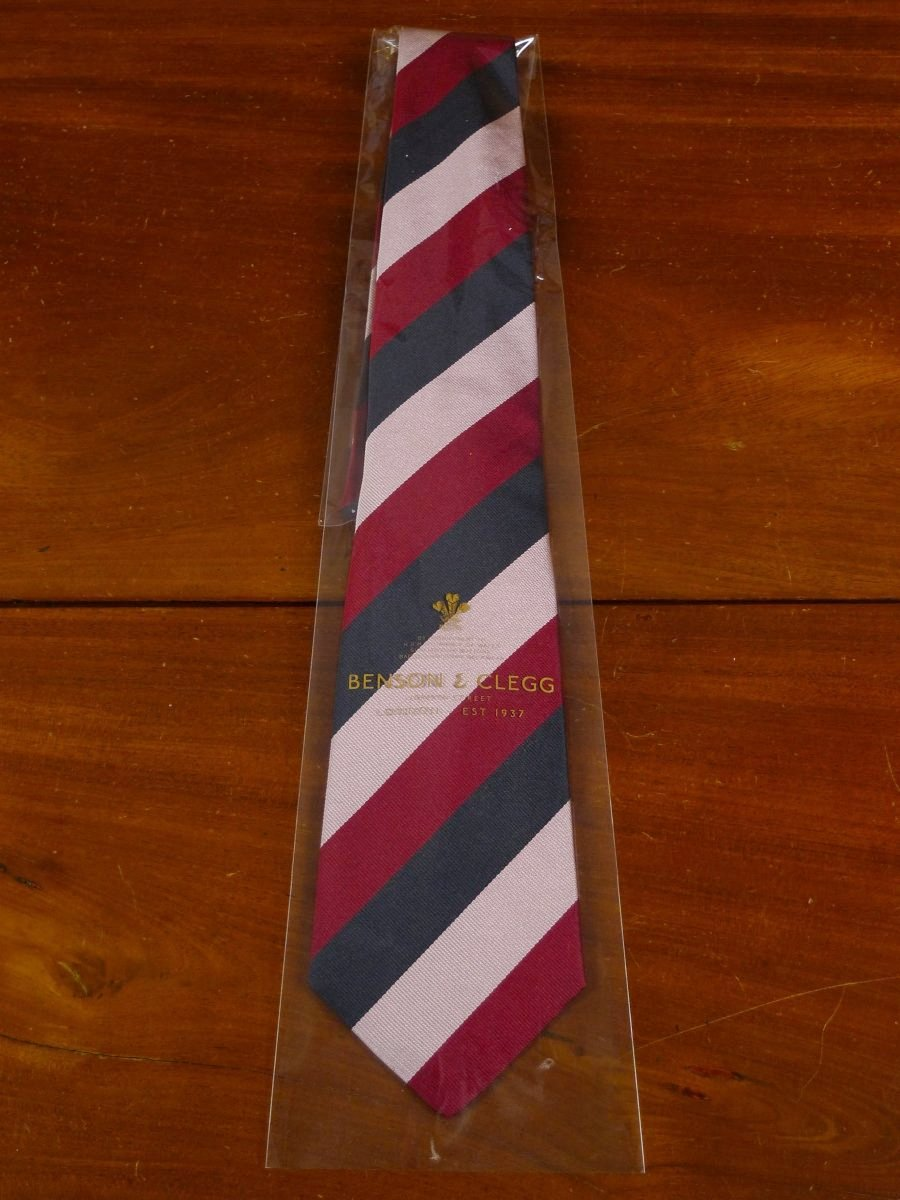 18/1383 brand new benson & clegg 'old carthusian' old school wide stripe non crease silk tie rrp £65 (355NC)