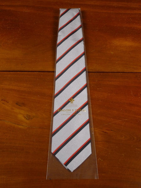 18/1307 brand new benson & clegg burlington arcade silver red black silk stripe tie rrp £65 (346)