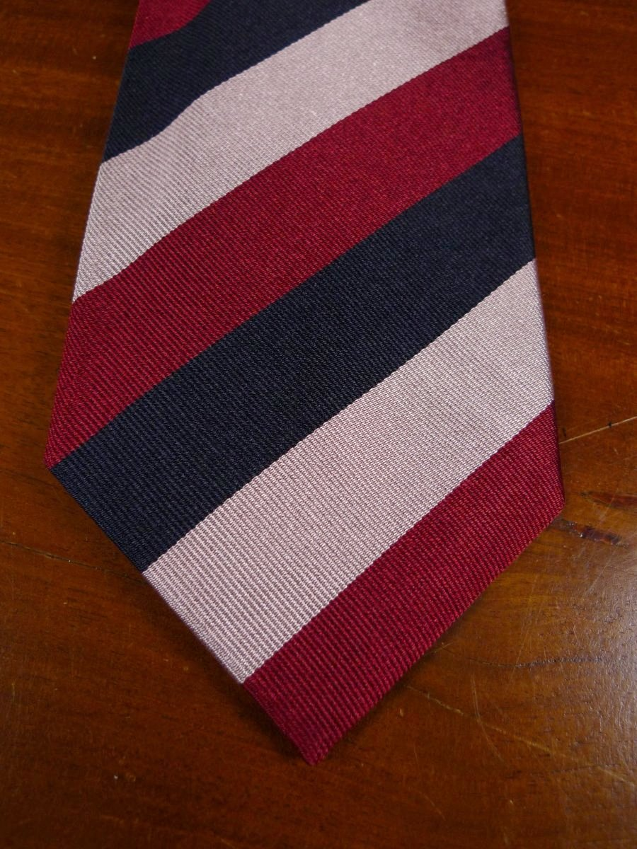 18/1308 brand new benson & clegg burlington arcade 'old carthusian' (wide stripe) silk reppe tie rrp £65 (355r)