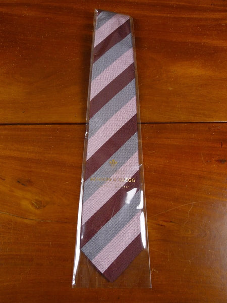 18/1311 brand new benson & clegg burlington arcade 'old lancing' (wide stripe) silk non crease tie rrp £65 (378nc)