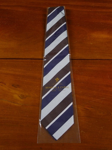 18/1309 brand new benson & clegg burlington arcade brown silver navy light blue silk reppe tie rrp £65 (385r)