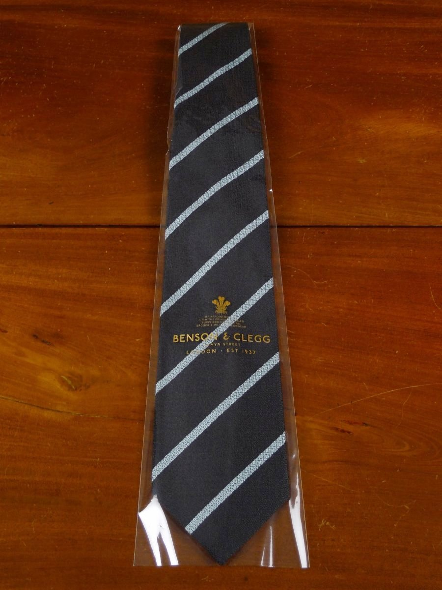 18/1312 brand new benson & clegg midnight blue / teal silk non crease tie rrp £70 (367nc)