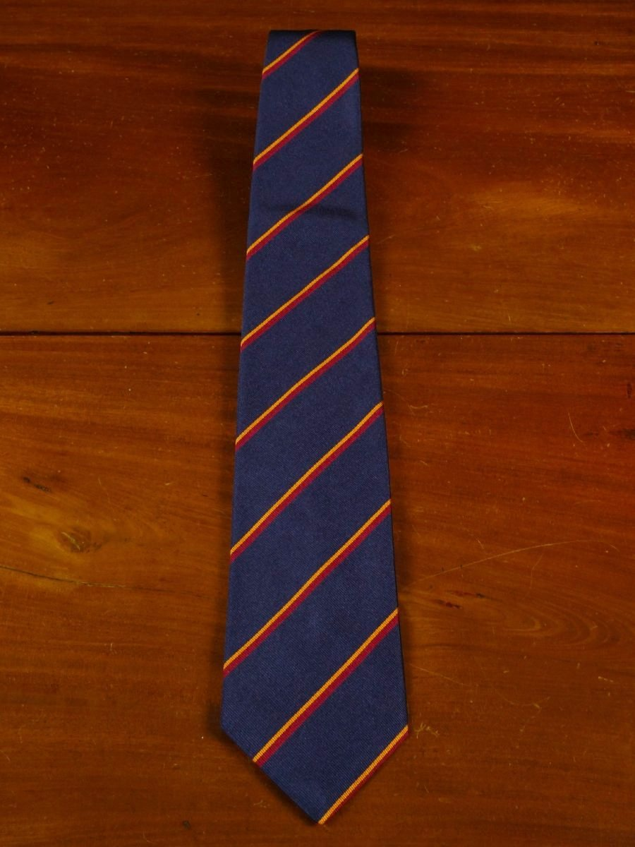 18/1313 brand new benson & clegg navy blue/red/amber 'old blues' silk reppe tie rrp £65 (348)