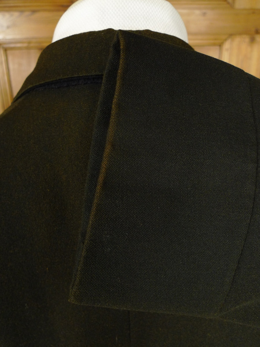 18/1292 vintage genuine 1930s black barathea / grosgrain silk evening tailcoat 37 short