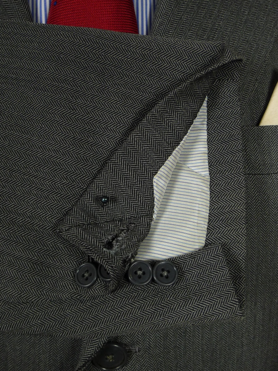 18/1290 vintage bespoke tailored full canvas grey herringbone worsted suit 39 short