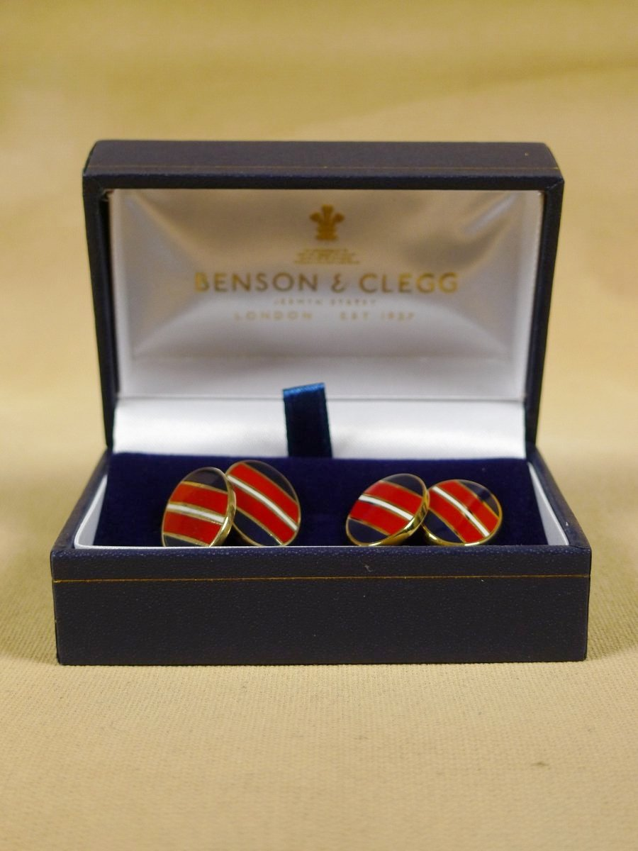 18/1317 brand new benson and clegg classic enamel chain cufflinks rrp £90 (735c)