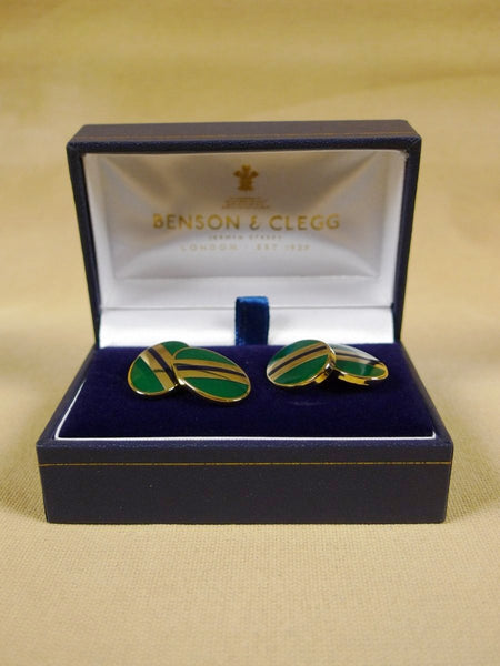 18/1318 brand new benson and clegg classic enamel chain cufflinks rrp £90 (736c)