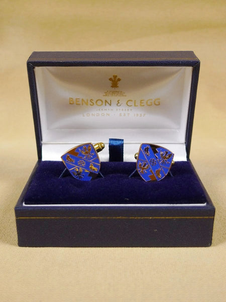18/1321 brand new benson and clegg 'magdalene college cambridge' enamel t-bar cufflinks rrp £70 (esc016)