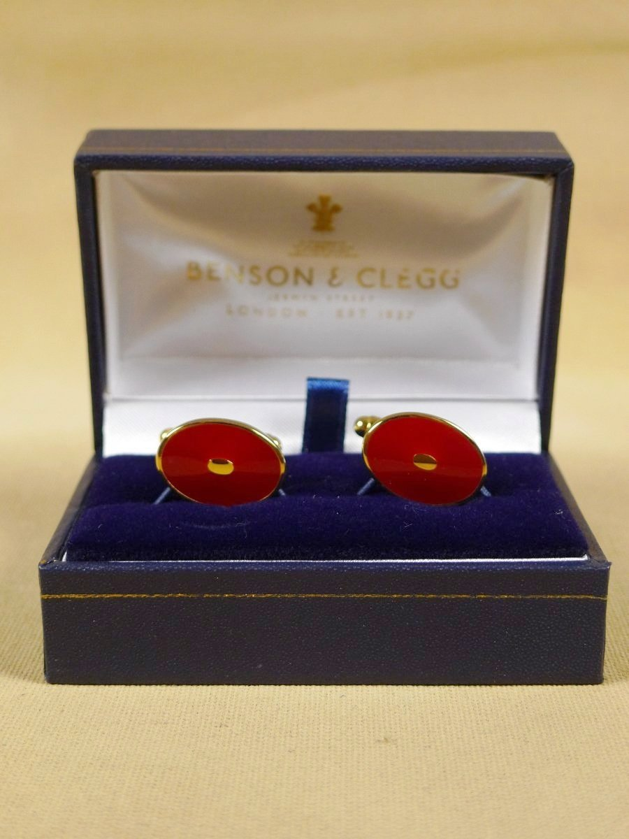 18/1322 brand new benson and clegg classic enamel t-bar cufflinks rrp £70 (t743)