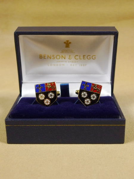 18/1325 brand new benson and clegg 'king's college cambridge' university t-bar cufflinks rrp £70 (esc015)