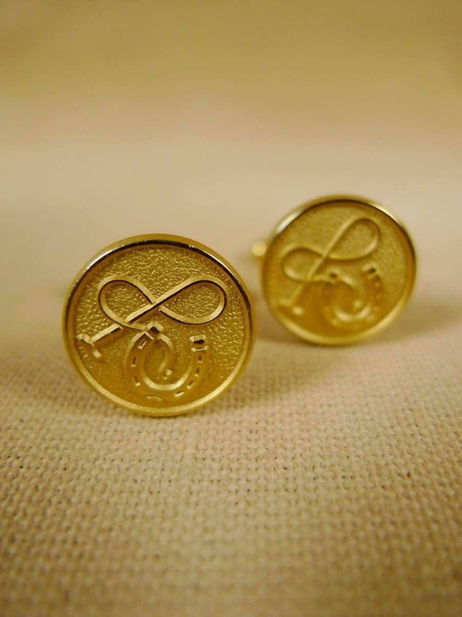 18/1327 brand new benson and clegg 'horseshoe & whip' button cufflinks rrp £40 (t927)