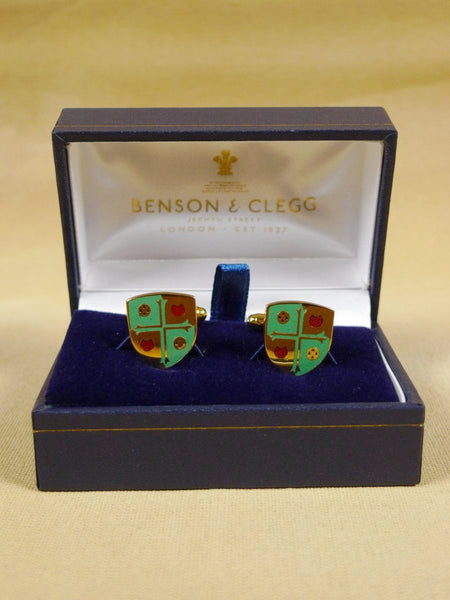 18/1330 brand new benson and clegg 'girton college cambridge' university t-bar cufflinks rrp £70 (esc010)