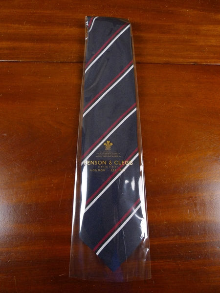 18/1336 brand new benson & clegg midnight blue / maroon / pale grey silk tie rrp £65 (396r)