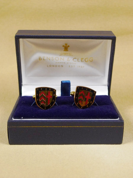 18/1349 brand new benson and clegg 'claire college cambridge' university t-bar cufflinks rrp £70 (esc003)