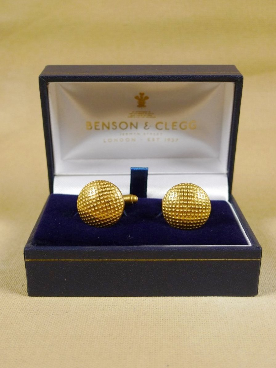18/1347 brand new benson and clegg 'golf ball' button t-bar cufflinks rrp £40 (t936)
