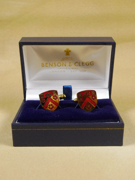 18/1345 brand new benson and clegg 'trinity college cambridge' t-bar cufflinks rrp £70 (esc026)