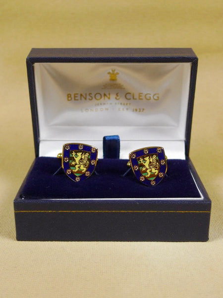 18/1348 brand new benson and clegg 'downing college cambridge' university t-bar cufflinks rrp £70 (esc007)