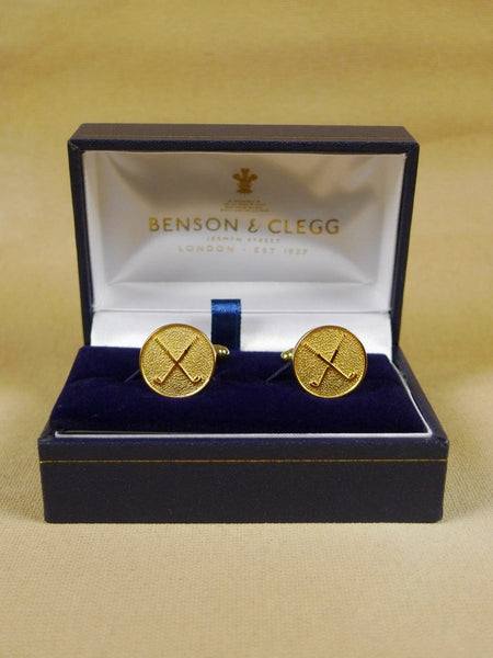 18/1342 brand new benson and clegg 'golf clubs' t-bar button cufflinks rrp £40 (t921)