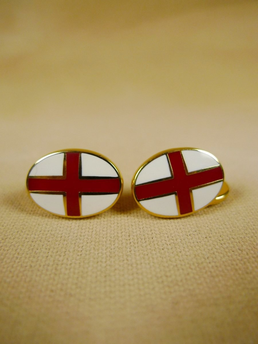 18/1346 brand new benson and clegg 'st. georges cross' enamel (gold) chain cufflinks rrp £70 (768c)