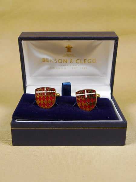 18/1343 brand new benson and clegg 'fitzwilliam college' cambridge university t-bar cufflinks rrp £70 (esc009)