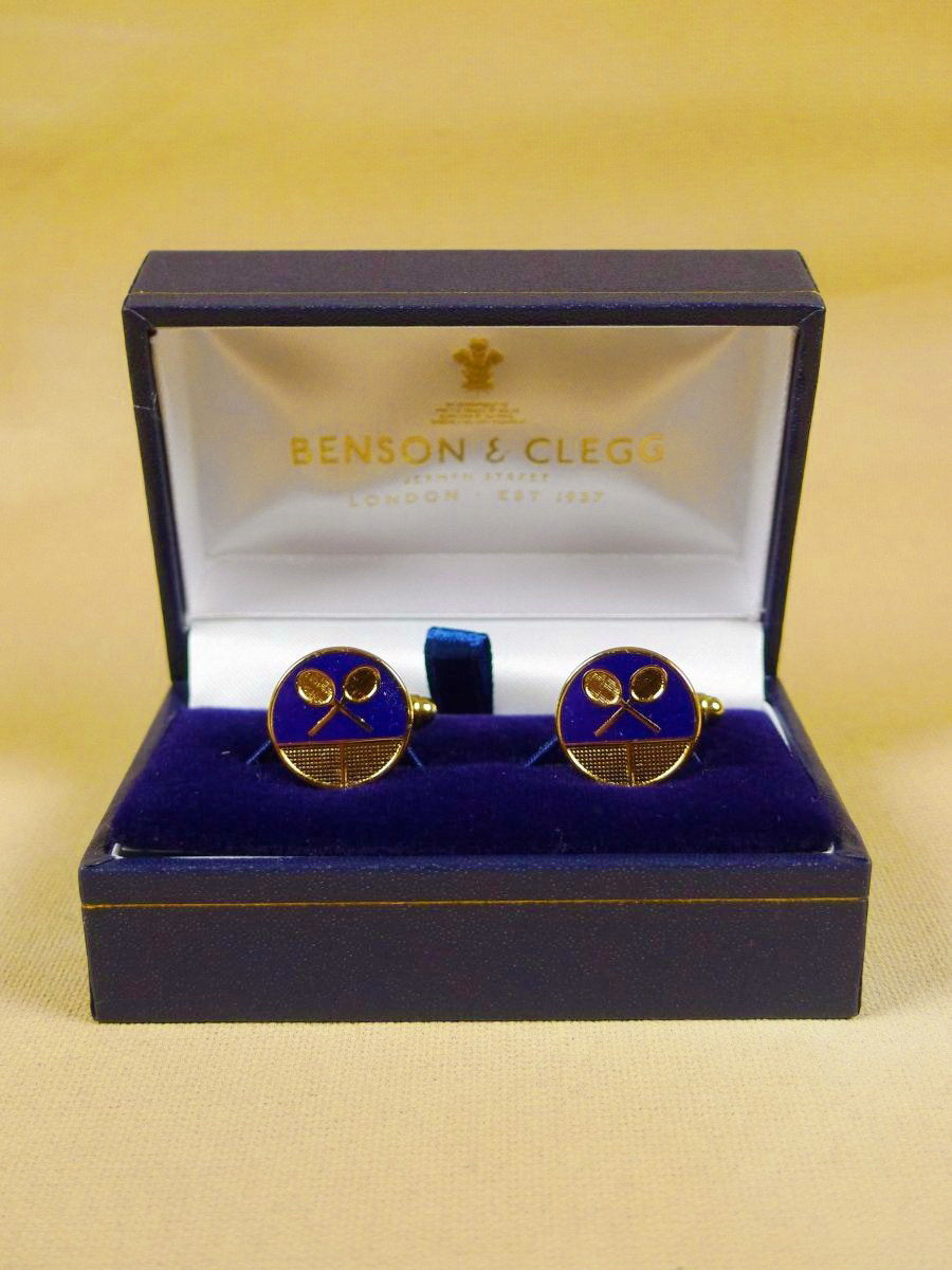 18/1353 brand new benson and clegg 'tennis' enamel button t-bar cufflinks rrp £40 (t951)