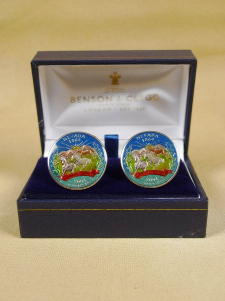 18/1351 brand new benson and clegg 'usa state quarter - nevada' coin t-bar cufflinks rrp £100 (cc2106)