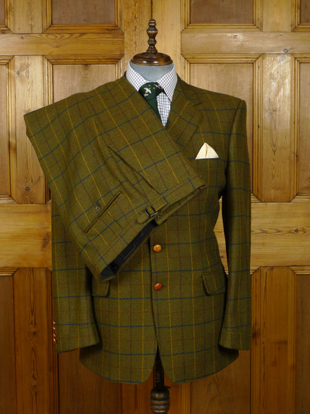 18/1367 hunter & lords us custom tailored windowpane check tweed suit 42 long