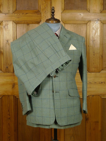 18/1368 stunning 2016 anderson & sheppard savile row bespoke green windowpane check 3-piece tweed shooting suit (breeks) 41 short