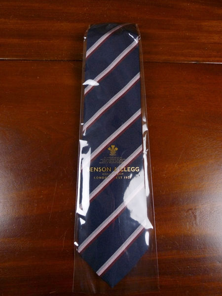 18/1355 brand new benson & clegg 'old lancing' (narrow stripe) old school repp silk tie rrp £65 (379r)