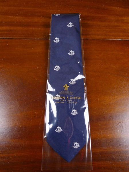 18/1360 brand new benson & clegg navy / cream silk tie rrp £65 (370b)