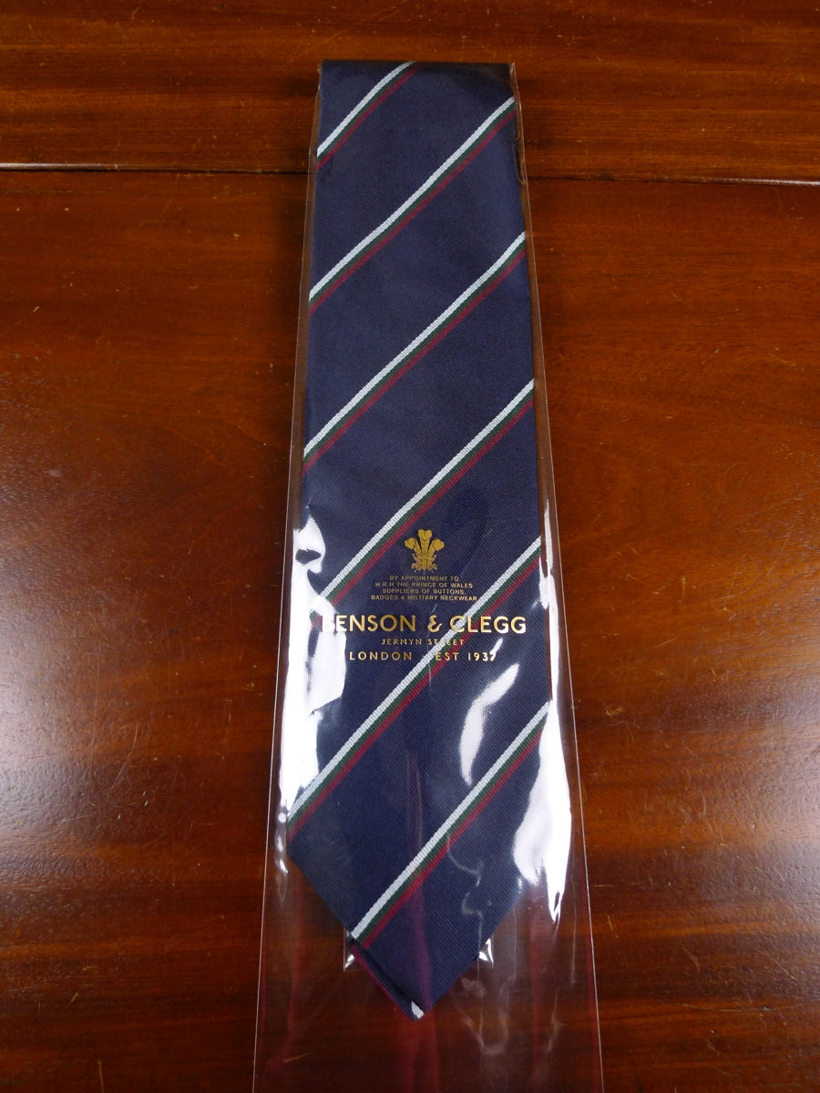 18/1366 brand new benson & clegg 'old uppingham' (narrow stripe) old school repp silk tie rrp £65 (398r)