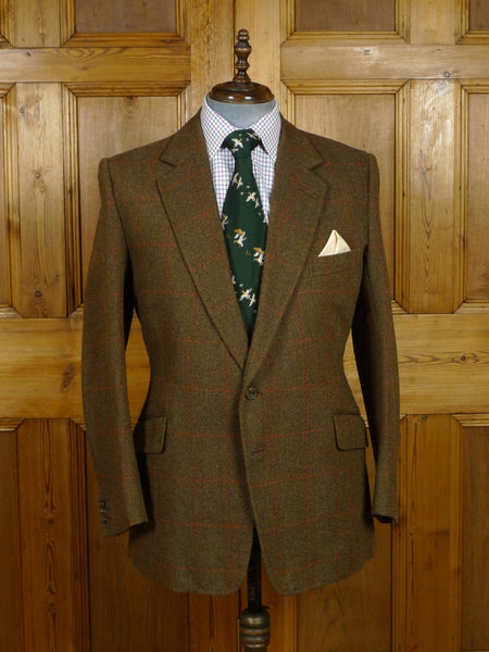 18/1371 henry poole 2000 savile row bespoke brown / red windowpane check tweed sports jacket 41-42 regular to long