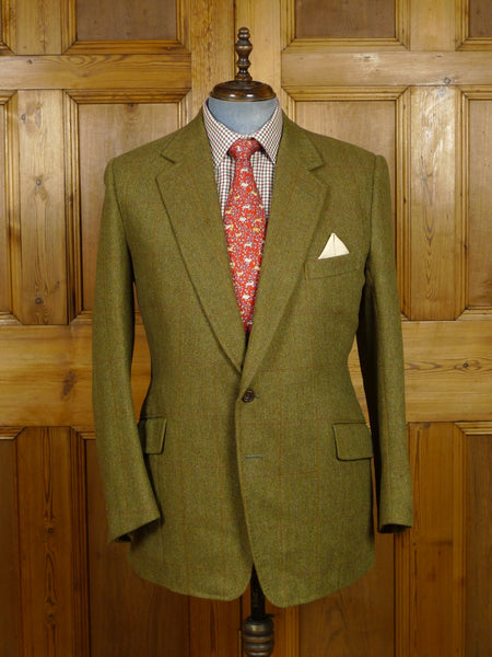 18/1372 henry poole 2000 savile row bespoke green / red windowpane check tweed sports jacket 41-42 regular to long