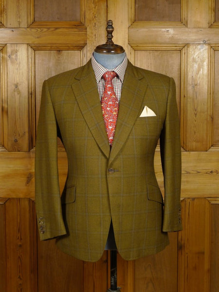 18/1373 immaculate 2015 henry poole savile row bespoke brown / blue windowpane check wool sports jacket blazer 41 short
