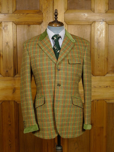 18/1374 immaculate choppin & lodge city of london bespoke green windowpane check tweed jacket w/ velvet collar 40 regular