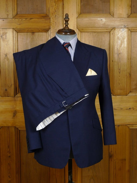 18/1380 near immaculate 2015 henry poole savile row bespoke navy blue wool & mohair suit 41 short