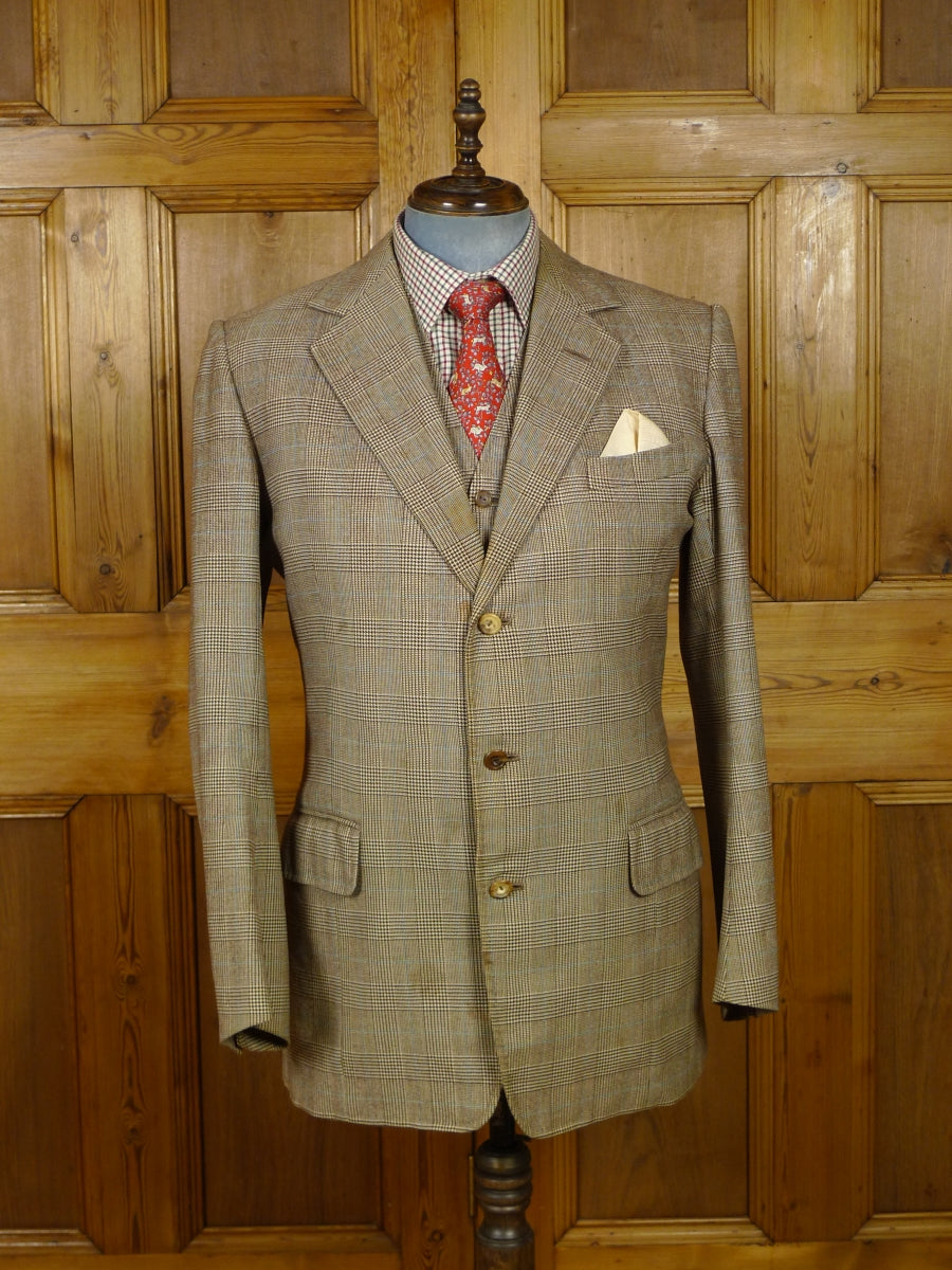 18/1417 VINTAGE SAVILE ROW BESPOKE PRINCE OF WALES CHECK 3-PIECE SUIT 43R (BARGAIN CORNER)