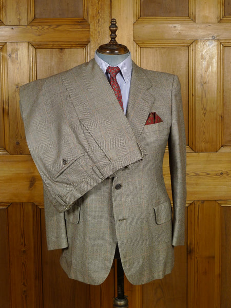 18/1408 superb d'avenza custom tailored brown prince of wales check worsted flannel suit 41 short